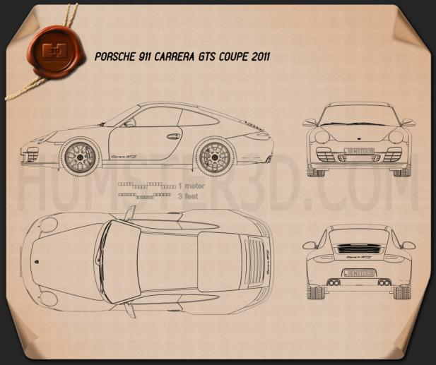 Porsche 911 Carrera GTS Coupe 2011 Blueprint