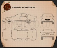 Mitsubishi Galant sedan 1996 Blueprint