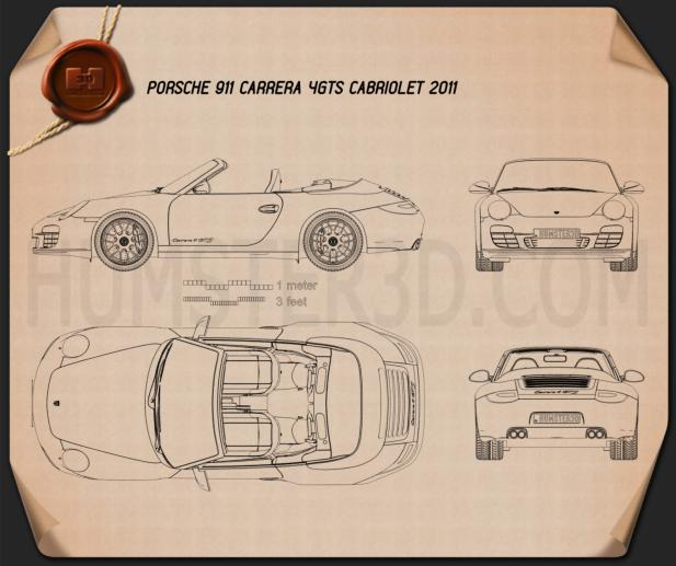 Porsche 911 Carrera 4GTS Cabriolet 2011 Blueprint