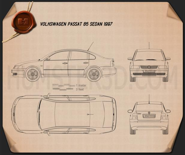 Volkswagen Passat B5 sedan 1997 Blueprint