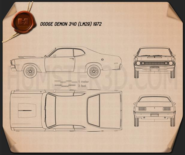 Dodge Demon 340 1972 Blueprint