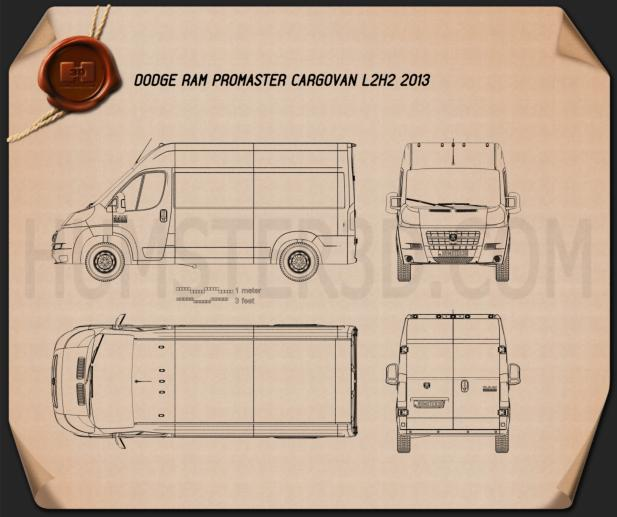 Dodge Ram Pro Master Cargo Van L2H2 2013 Blueprint