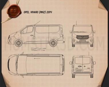 Opel Vivaro Passenger Van 2014 Blueprint