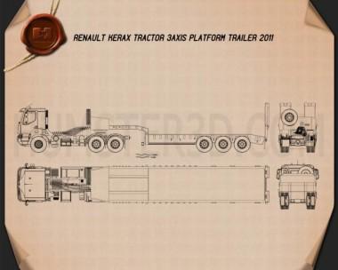 Renault Kerax Tractor Platform Trailer 2011 Blueprint