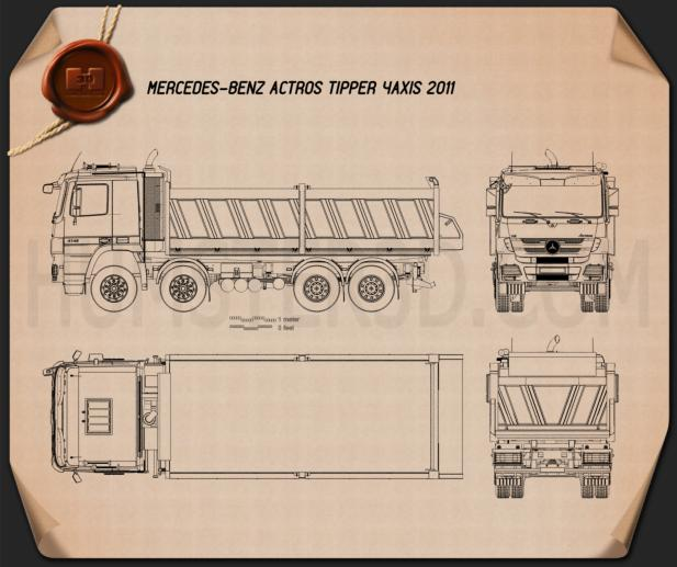 Mercedes-Benz Actros Tipper 4-axle 2011 Blueprint