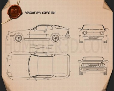 Porsche 944 coupe 1991 Blueprint