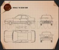 Renault 19 Sedan 1988 Blueprint