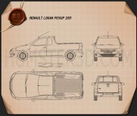 Renault Logan Pickup 2011 Blueprint