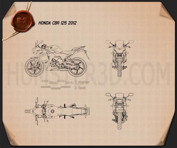 Honda CBR125R 2012 Blueprint 3d model
