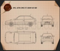 Opel Astra (F) 3-door GSi 1991 Blueprint