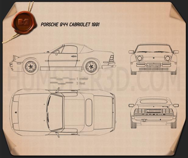 Porsche 944 Cabriolet 1991 Blueprint