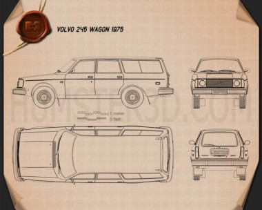 Volvo 245 wagon 1975 Blueprint