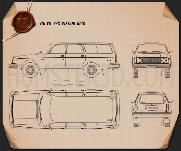 Volvo 245 wagon 1975 Blueprint