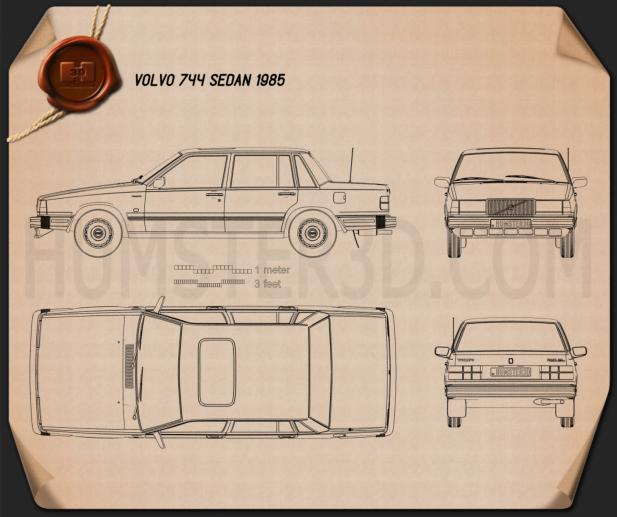 Volvo 744 sedan 1985 Blueprint