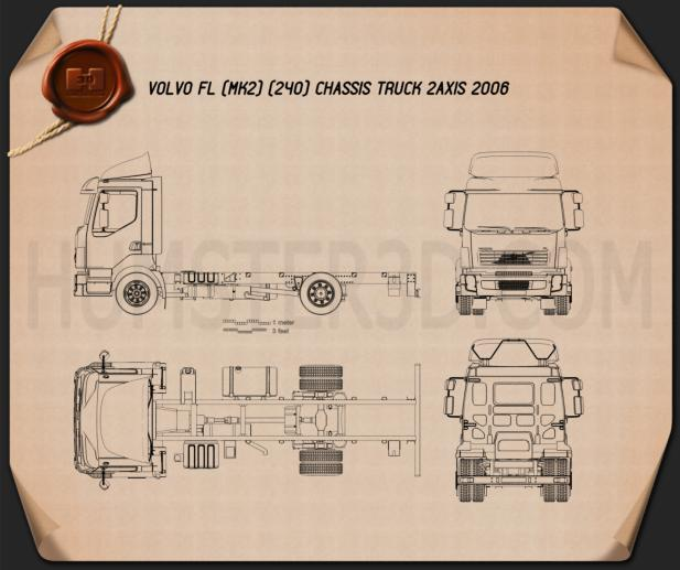 Volvo fl chassis truck 2006 blueprint hum3d for Florida blueprint