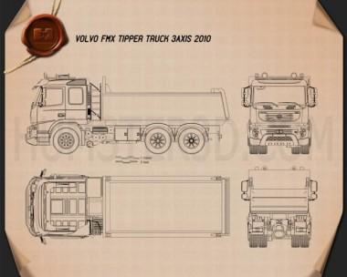 Volvo FMX Tipper Truck 2010 Blueprint