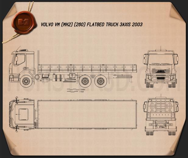 Volvo VM Flatbed Truck 2003 Blueprint