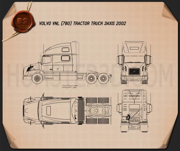 Volvo VNL Tractor Truck 2002 Blueprint