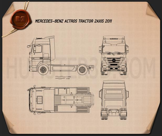 Mercedes-Benz Actros Tractor 2-axle 2011 Blueprint