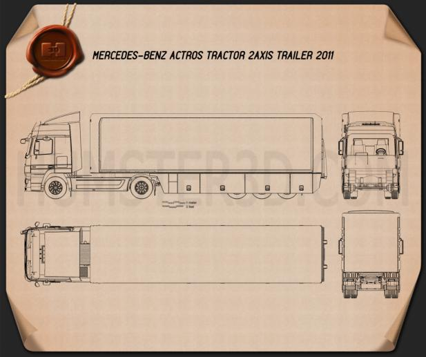 Mercedes-Benz Actros Tractor Trailer 2011 Blueprint
