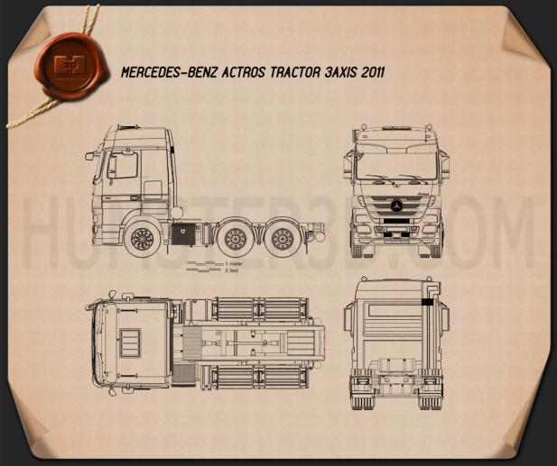 Mercedes-Benz Actros Tractor 3-axle 2011 Blueprint