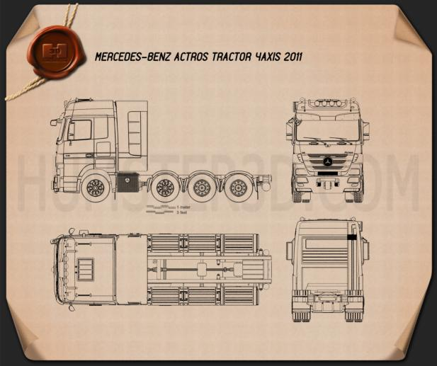Mercedes-Benz Actros Tractor 4-axle 2011 Blueprint