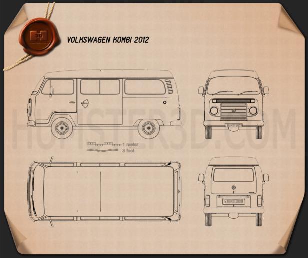 Volkswagen Kombi (T2) 2012 Blueprint