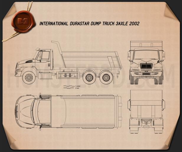 International DuraStar Dump Truck 3-axle 2002 Blueprint