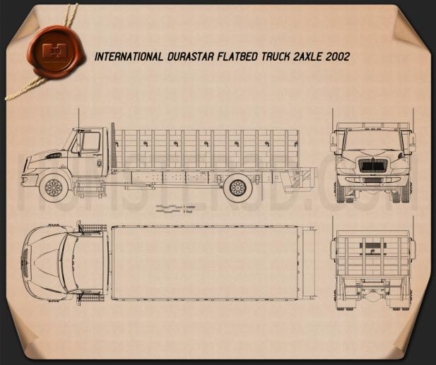 International DuraStar Flatbed Truck 2002 Blueprint