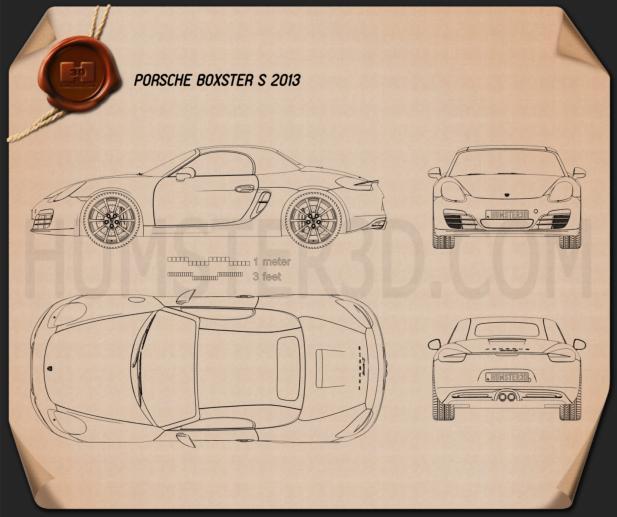Porsche Boxster S 981 2013 Blueprint