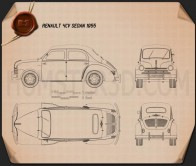 Renault 4CV sedan 1955 Blueprint