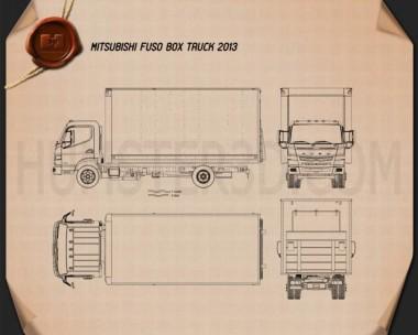 Mitsubishi Fuso Box Truck 2013 Blueprint