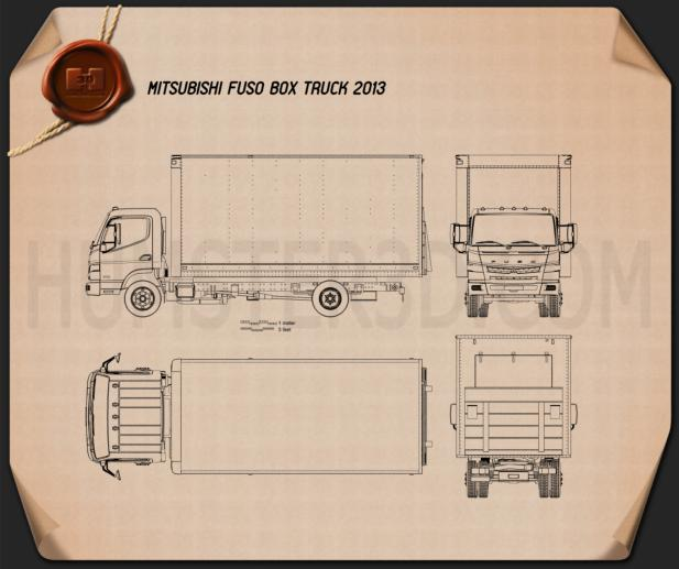 Mitsubishi Fuso Box Truck 2013 Blueprint