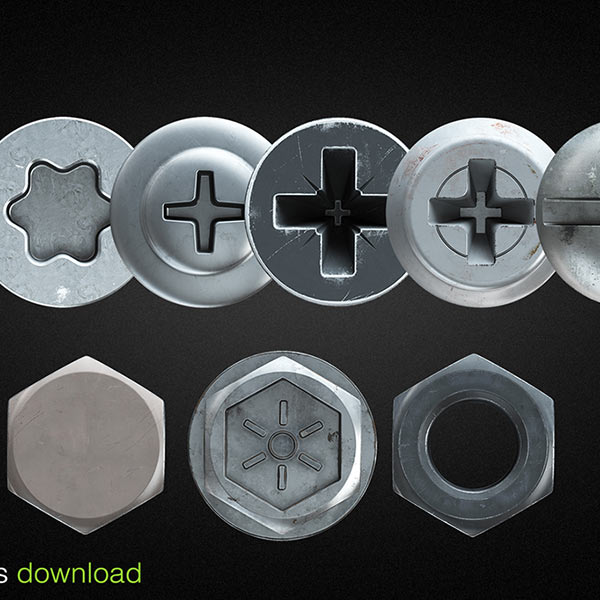 Hex nut and screw heads for v-ray 3d model