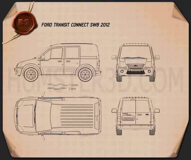 Ford Transit Connect SWB 2012 Blueprint