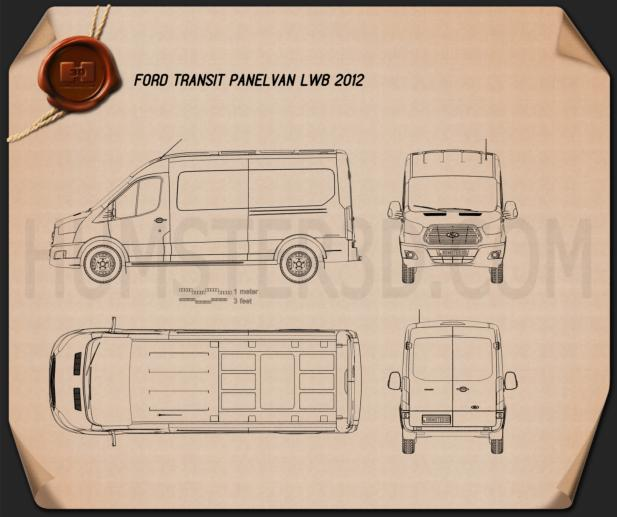 Ford Transit Panel Van LWB 2012 Blueprint