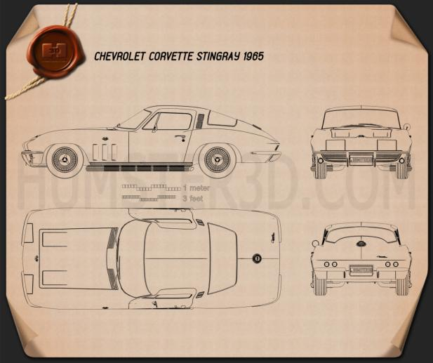 Chevrolet Corvette Sting Ray C2 1965 Blueprint Hum3D