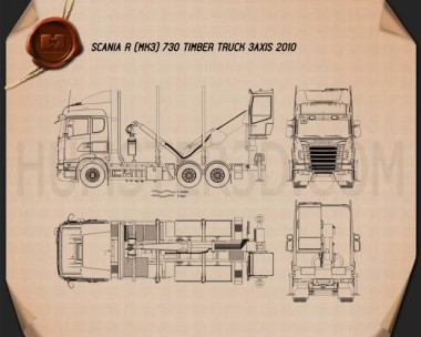 Scania R 730 Timber Truck 2010 Blueprint
