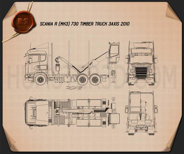Scania R 730 Timber Truck 2010 Blueprint