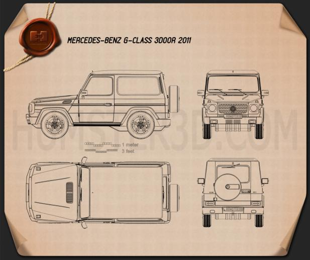 Mercedes-Benz G-Class 3-door 2011 Blueprint
