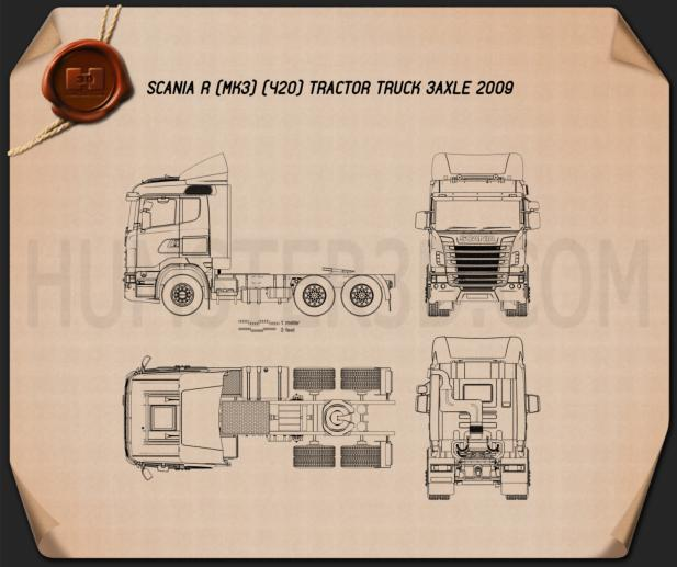 Scania R420 Tractor Truck 3-axle 2009 Blueprint