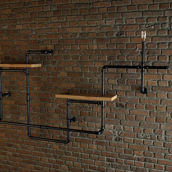 3d Wall Shelving : Pipe shelves download free d models