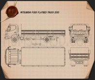 Mitsubishi Fuso Flatbed Truck 2013 Blueprint