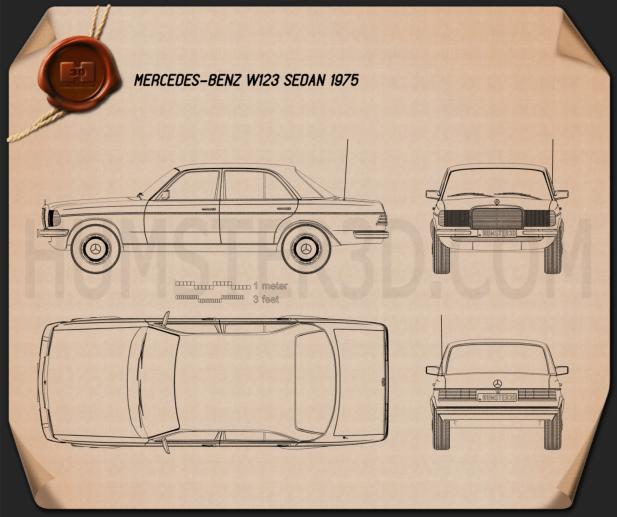 Mercedes-Benz E-Class W123 sedan Blueprint