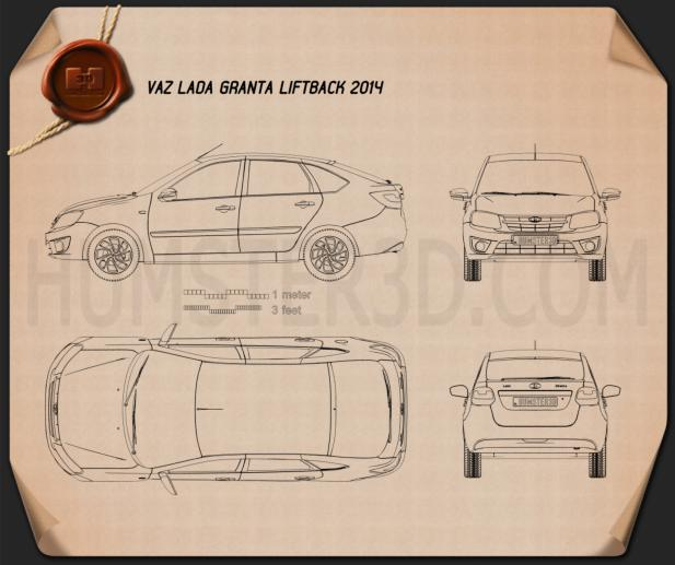 Lada Granta liftback 2014 Blueprint
