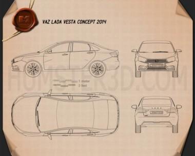 VAZ Lada Vesta 2014 Blueprint
