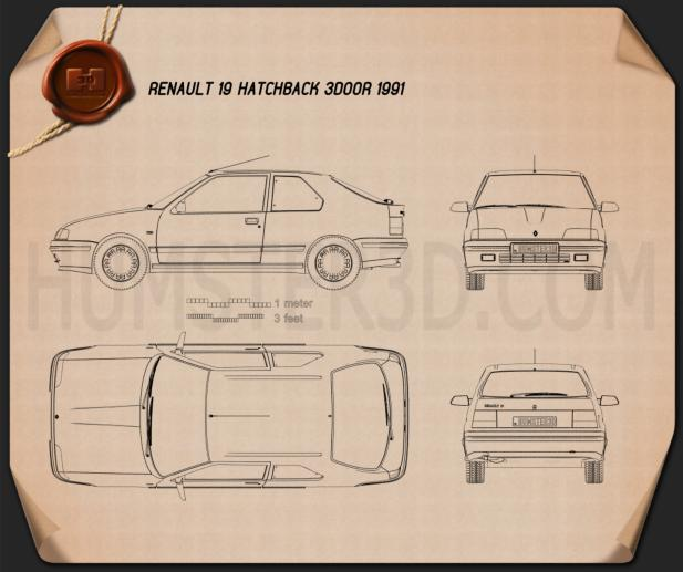 Renault 19 3-door hatchback 1988 Blueprint