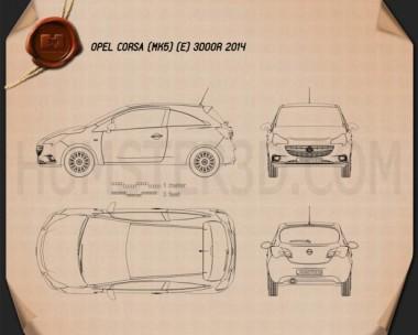Opel Corsa (E) 3-door 2014 Blueprint