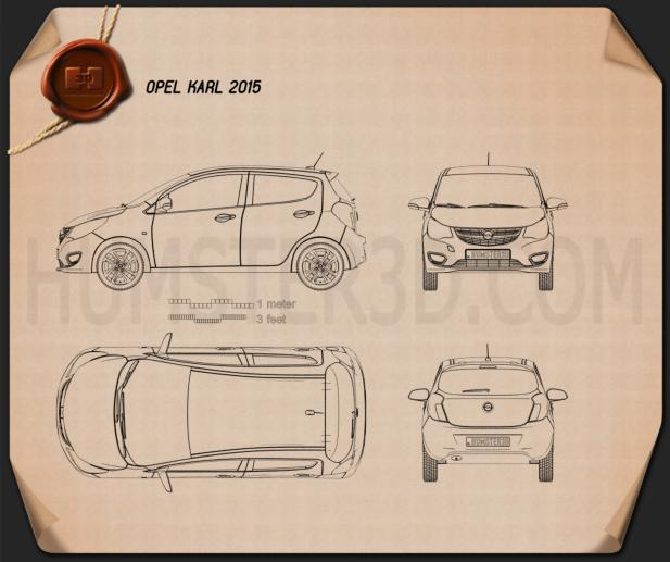 Opel Karl 2015 Blueprint