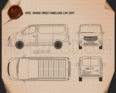 Opel Vivaro Panel Van L1H1 2014 Blueprint